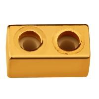 Schiebeverschluss mit Gummi Viereck 10 x 5 mm, für zwei Bänder mit je 2 mm Durchmesser, vergoldet