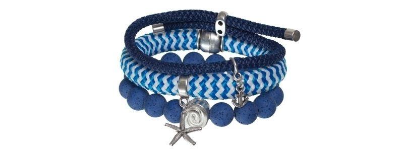 Armbänder mit gestreiftem Segelseil blau