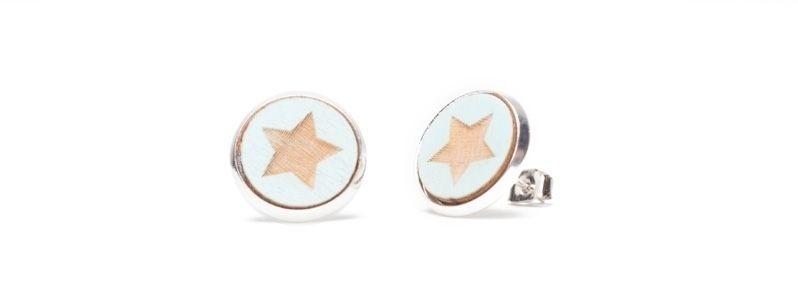 Ohrstecker mit Holzcabochons Sterne