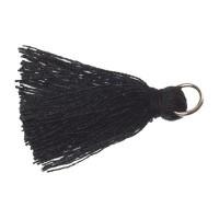 Quaste/Troddel, 25 - 30 mm, Baumwollgarn mit Öse (silberfarben), schwarz
