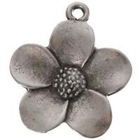 Metallanhänger Blume , ca. 30 mm, versilbert