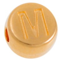 Metallperle, M Buchstabe, rund, Durchmesser 7 mm, vergoldet