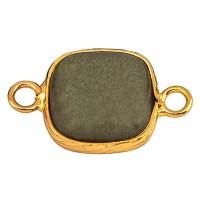 Edelstein Armbandverbinder Viereck, Jade, 21 x 13 mm, zwei Ösen, Fassung goldfarben