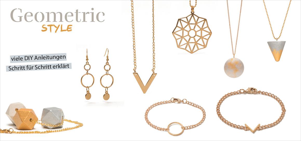 Armband, Ohrhänger und Ketten mit Geometrik Metallanhänger