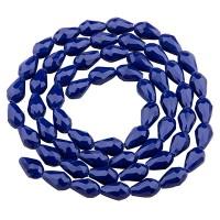 Glasfacettperlen Tropfen, 11 x 8 mm, dunkelblau opak, Strang mit ca. 60 Perlen