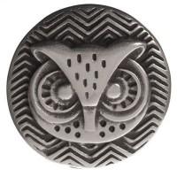 Metallperle Slider Eule versilbert, ca. 25 mm, Durchmesser Fädelöffnung: 20,2 x  2,3 mm