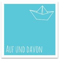 """Schmuckkarte """"Auf und Davon"""", quadratisch, Größe 8,5 x 8,5 cm"""