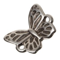 Metallanhänger / Armbandverbinder Schmetterling, 15 x 11 mm, versilbert