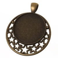 Anhänger für Cabochons, rund 25 mm, bronzefarben