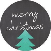 """Aufkleber """"Merry Christmas"""", rund, Durchmesser 30 mm"""