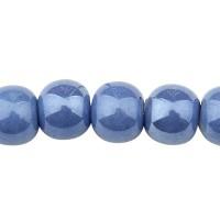 Pearlized Porzellanperle, Kugel, kornblumenblau, 6 mm