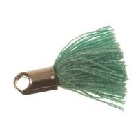 Quaste/Troddel, 18 mm, Baumwollgarn mit Endkappe (silberfarben), veraman