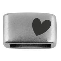 """Zwischenstück mit Gravur """"Herz"""", 14 x 8,5 mm, versilbert, geeignet für 5 mm Segelseil"""