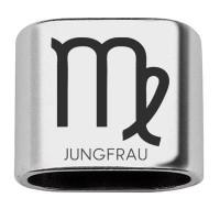 """Zwischenstück mit Gravur Sternzeichen """"Jungfrau"""", 20 x 24 mm, versilbert, geeignet für 10 mm Segelse"""