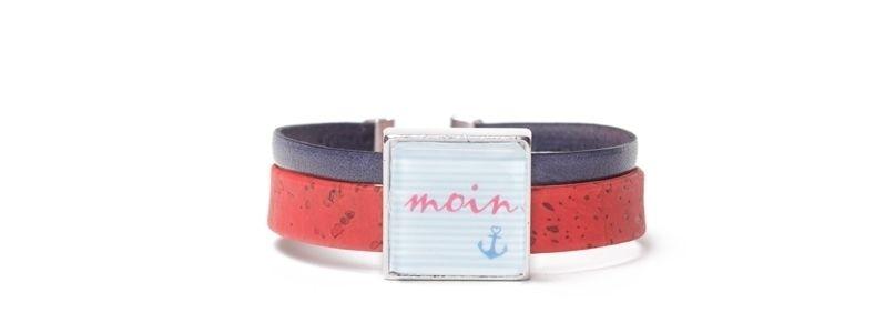 Armband mit viereckigem Glascabochon Moin