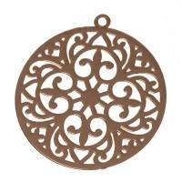 Metallanhänger Boho Rund filigran, 22 x 20 mm, rose goldfarben