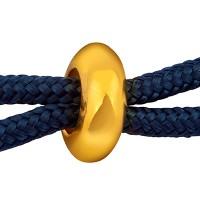 Schiebeverschluss Rondell,  10 x 4 mm, für zwei Bänder mit je 2 mm Durchmesser, vergoldet