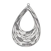 Metallanhänger Boho Tropfen filigran, 35 x 21 mm, grau