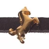 Metallperle Mini-Slider Einhorn, vergoldet, ca. 9,0 x 10,5 mm