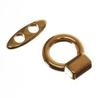 Knebelverschluss für Bänder bis 5 mm, 27 mm, vergoldet