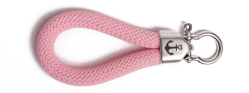 Maritimer Schlüsselanhänger aus Segeltau Rosa