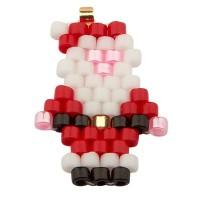 Handgefädeltes Ornament aus japanischen Rocailles, Weihnachtsmann, 17,5 x 11,5 mm