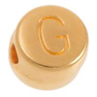 Metallperle, G Buchstabe, rund, Durchmesser 7 mm, vergoldet