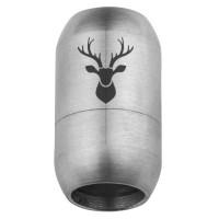 Edelstahl Magnetverschluss für 8 mm Bänder, Verschlussgröße 21 x 12 mm, Motiv Hirschkopf, silberfarb