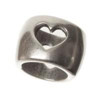 Metallperle Röhre mit Herz für 5 mm Segelseil, 7 x 9 mm, versilbert