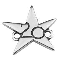 """Armbandverbinder mit Stern und Jahreszahl """"20"""", 17,5 x 15,5 mm, versilbert"""