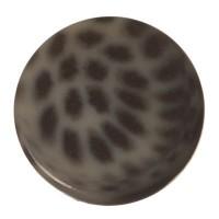 Polaris Cabochon Animalprint Leoprad, rund, flach, 12 mm, dunkelgrau-schwarz