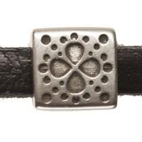 Metallperle Mini-Slider Blume, versilbert, ca. 9 x 9mm