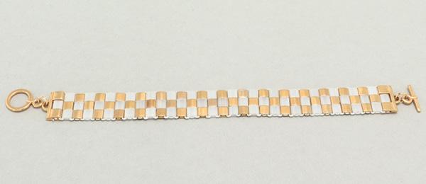 Gefädeltes Armband mit Tila-Perlen Crystal-Silk-Satin-Gold