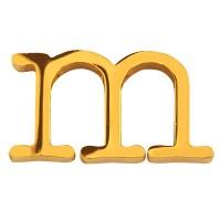 Buchstabe: M, Edelstahlperle in Buchstabenform, goldfarben, 12 x 22 x 3 mm, Lochdurchmesser: 1,8 mm