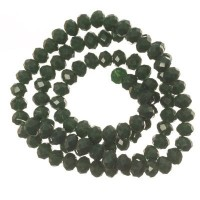 Strang Glasfacett  Rondell, 4 x 6 mm, dunkelgrün opak, Länge des Strangs ca. 40 cm