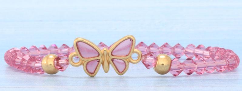 Frühlingsarmband mit Schmetterling und Preciosa Rondell Bead