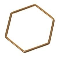 Metallanhänger Hexagon, 26 x 30 mm, vergoldet