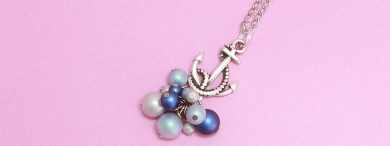 Ankerkette mit Crystal Pearls