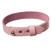 Lederarmband für Sliderperlen, Breite 10 mm, Länge 23 cm, rosa