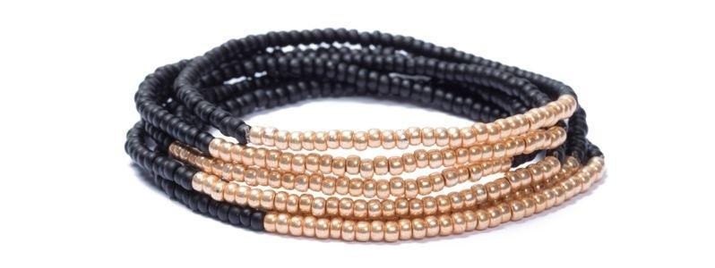 Armband mit Rocailles Schwarz-Gold
