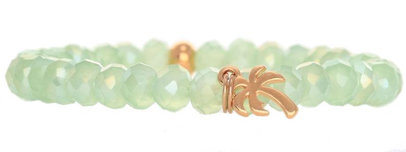 Tropische Armband mit Glasfacettrondellen Palme