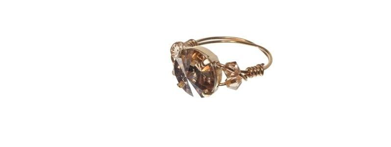Goldige Ringe mit Swarovski Rivoli Crystal Gold