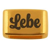 """Zwischenstück mit Gravur """"Lebe"""", 14 x 8,5 mm, vergoldet, geeignet für 5 mm Segelseil"""