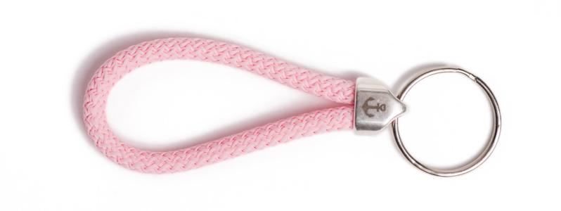Maritimer Schlüsselanhänger aus Segeltau klein Rosa