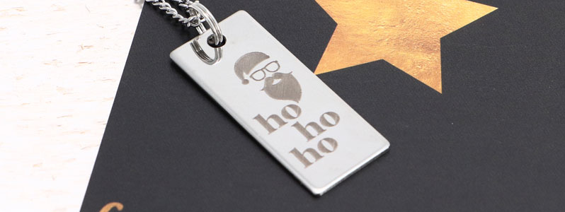 """Weihnachtskette mit Edelstahlanhänger """"Ho Ho Ho"""""""