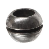Metallperle Kugel, ca. 6 mm, gestreift, versilbert
