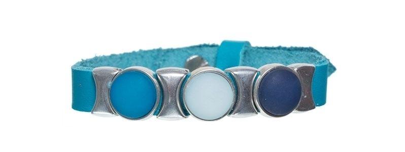 Leder-Armband mit Sliderperlen einfach Blaues Trio