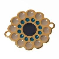 Metallanhänger / Armbandverbinder Blume Boho, vergoldet, emailliert, ca. 25 x 20 mm