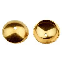 Edelstahl Perlkappe, goldfarben, 8 x 2,5 mm, Loch: 1 mm