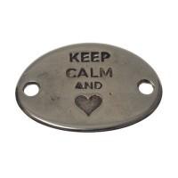 """Metallanhänger / Armbandverbinder, """"Keep Calm"""", 28 x 20 mm, versilbert"""